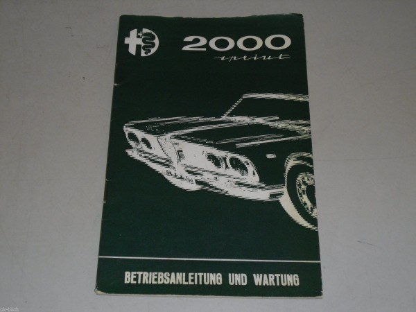 Betriebsanleitung Handbuch Alfa Romeo 2000 Sprint, Stand 1962